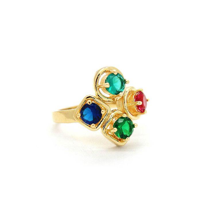 Anel-Semi-Joia-Dourado-Cristal-Azul-Verde-Agua-Rosa