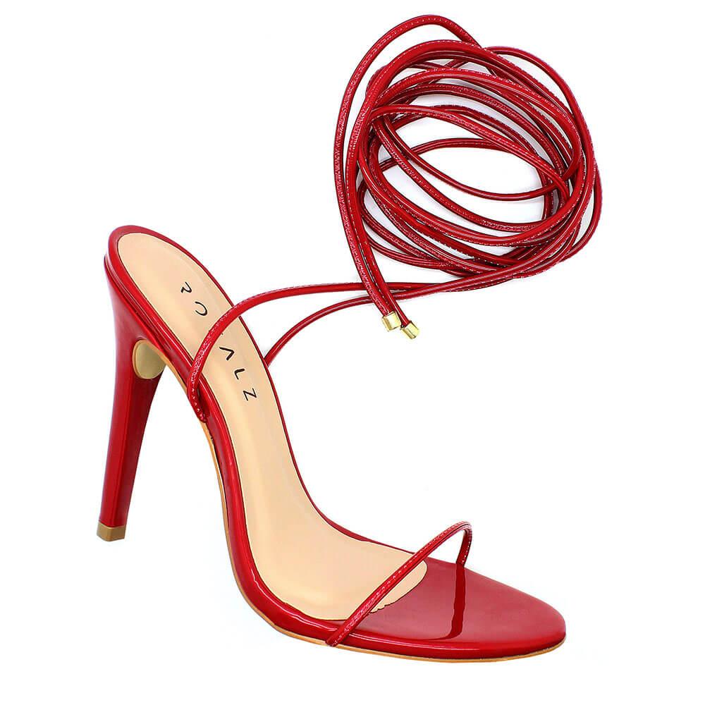 Sandália Royalz Verniz Louise Amarração Salto Alto Fino Vermelha