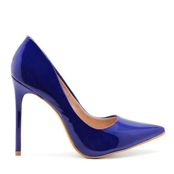 Scarpin-Royalz-Verniz-Salto-Alto-Fino-Celine-Azul-Bic