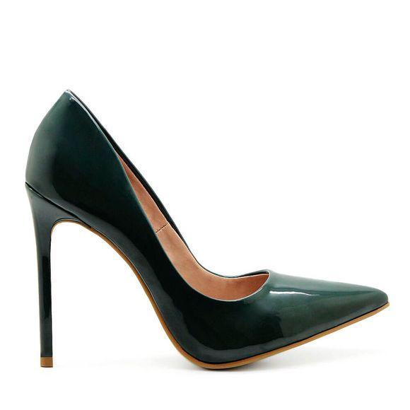 Scarpin-Royalz-Verniz-Salto-Alto-Fino-Celine-Verde-Escuro