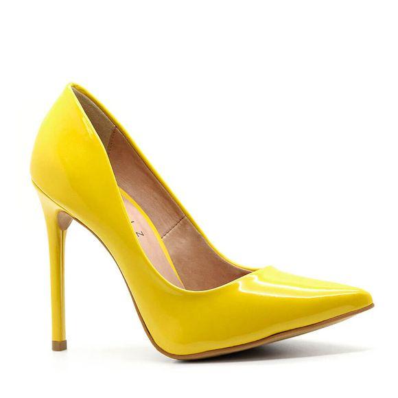 Scarpin-Royalz-Verniz-Salto-Alto-Fino-Celine-Amarelo