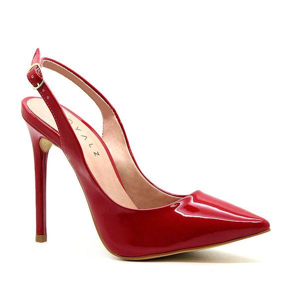 Scarpin-Royalz-Verniz-Salto-Alto-Fino-Celine-Slingback-Vermelho