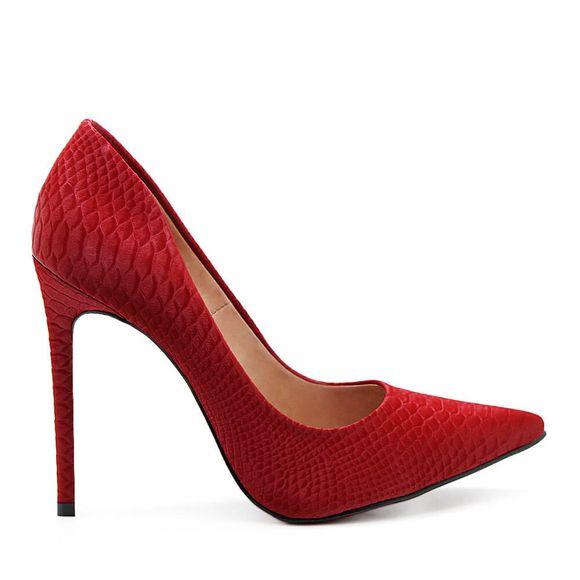Scarpin-Royalz-Cobra-Anaconda-Salto-Alto-Fino-Celine-Sola-Vermelha-Vermelho